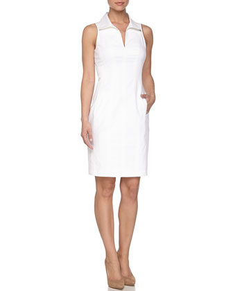 Sleeveless Sheath Dress, White