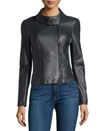 Wide-Collar Lambskin Leather Jacket, Slate