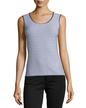 Scoop-Neck Striped Knit Tank