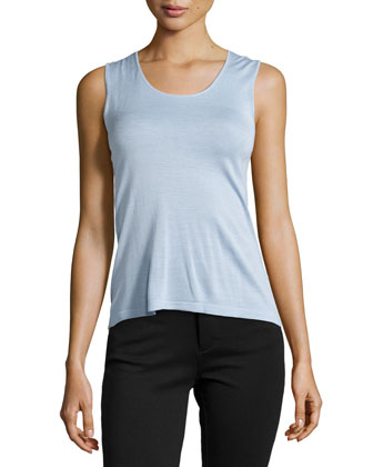 Sleeveless Silk Blend Knit Top, Atmosphere