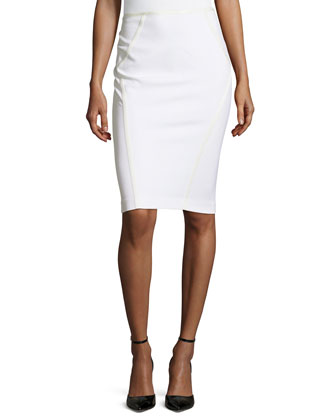 Taped Pencil Skirt, Ivory