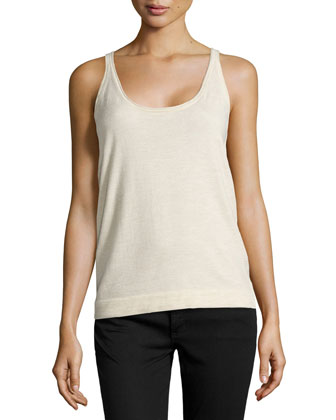 Cashmere-Blend Scoop-Neck Tank, Parchmant