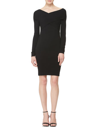 Long-Sleeve Twist-Front Dress
