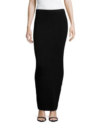 Long Cashmere Tube Skirt, Black