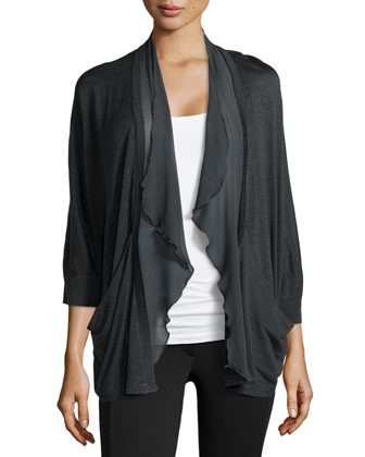 Silk-Knit Cardigan with Chiffon Trim