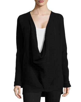 Ribbed Cross-Front Sweater, Black