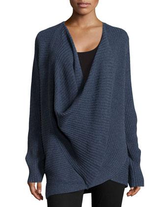 Ribbed Cross-Front Sweater, Indigo