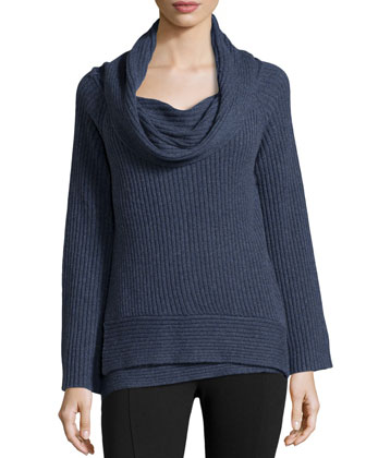 Off-the-Shoulder Ribbed Cashmere Sweater, Indigo