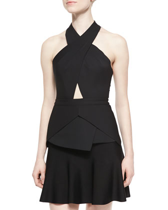 Remmie Cross-Neck Cutout Top, Black
