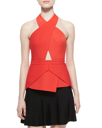Remmie Cross-Neck Cutout Top, Bright Poppy
