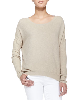 Textured Knit Drop-Sleeve Sweater