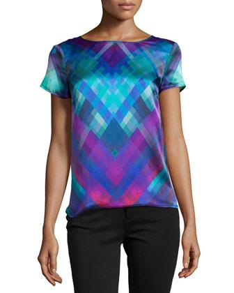 Pixel-Print Short-Sleeve Blouse