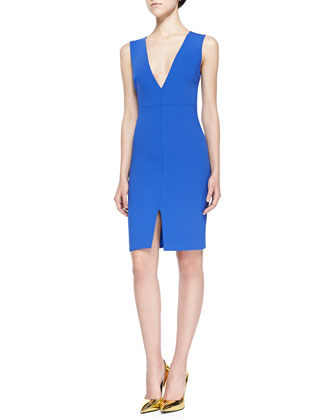 Marla Fitted Crepe V-Neck Dress
