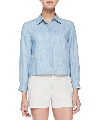 Felish Embellished Satin Jacket, Greer Clean-Placket Chambray Shirt & ...