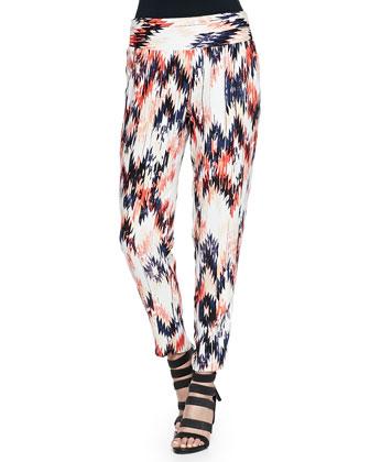 Zia Cropped Ikat-Print Pants