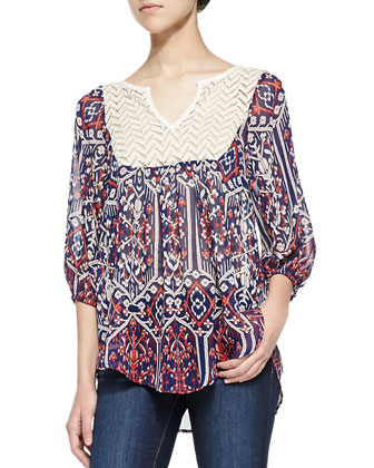 3/4-Sleeve Printed Top W/ Contrast Yoke