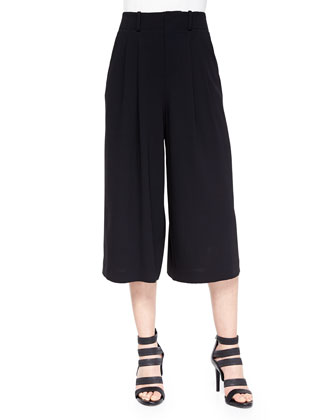 High-Waist Pleated Gaucho Pants