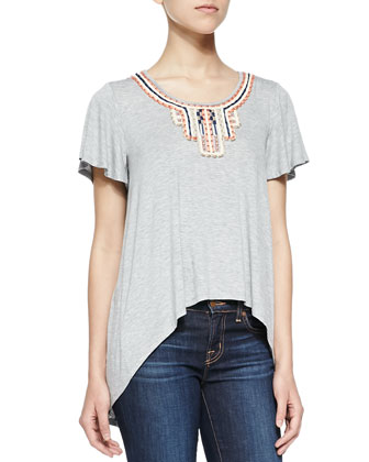 Adobe Short-Sleeve Top W/ Embroidered Neckline