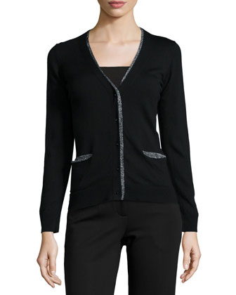 Needle-Knit Peplum Cardigan, Black
