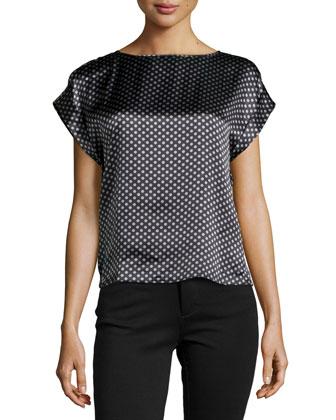 Short-Sleeve Polka Dot Blouse, Slate/Limestone