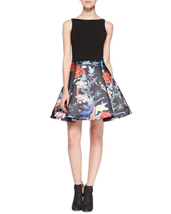 Amabel Floral Box-Pleat Dress