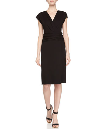 Wrap-Front Jersey Dress, Black