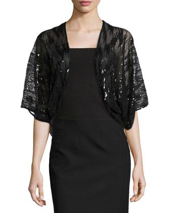Paillette Short -Sleeve Shrug, Black