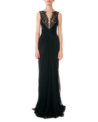 Grecian Chiffon Illusion Gown