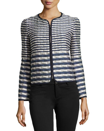 Striped Jacquard Jacket, Navy/White/Gray