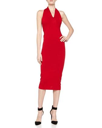 Svelte Knit Halter Dress, Scarlet