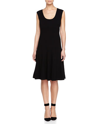 Cap-Sleeve Fit & Flare Dress, Black