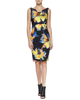 Ella Sleeveless Pop Art Floral-Print Dress