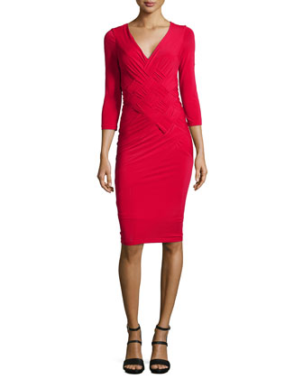 3/4-Sleeve Basketweave-Front Jersey Dress