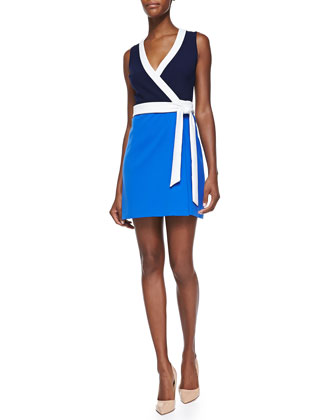 Gracie Contrast-Trim Wrap Dress