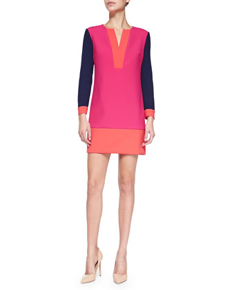 Millie Long-Sleeve Colorblock Mini Dress