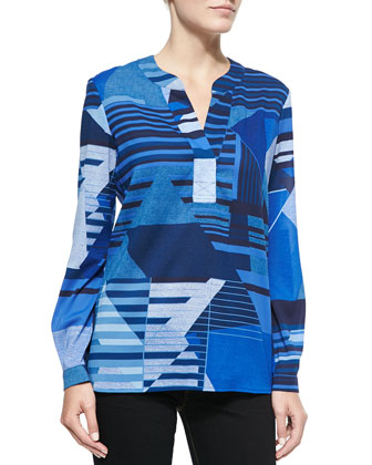 Esti Long-Sleeve Diamond Stripe Blouse