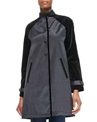 Abbey A-line Coat W/ Velvet Detail