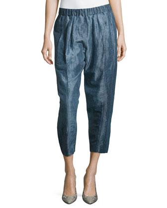 Cropped Ramie Silk Pants, Old Indigo