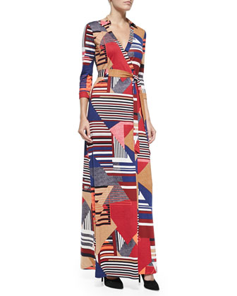 Abigail Diamond Stripe Maxi Wrap Dress