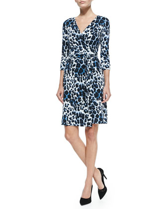 New Julian Two Snow Leopard-Print Wrap Dress