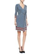 Tallulah 3/4-Sleeve Printed Silk Wrap Dress