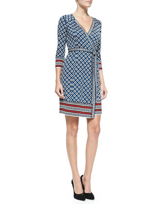Tallulah 3/4-Sleeve Printed Silk Wrap Dress