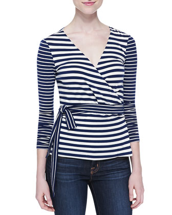 Behati Striped Knit Wrap Top