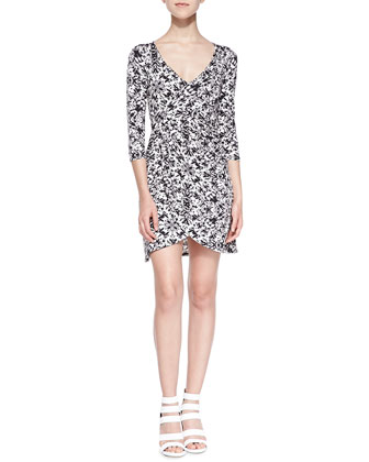 3/4-Sleeve Cosmo-Print Wrap Dress