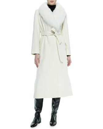 Fur-Collar Long Wrap Coat, White