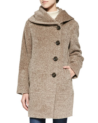 Asymmetric Button-Front Tweed Coat