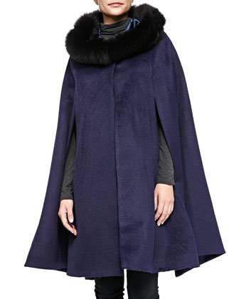 Alpaca Cape W/ Fur-Trimmed Hood, Navy