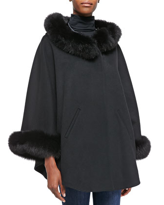 Cape W/ Fur-Trimmed Hood and Cuffs