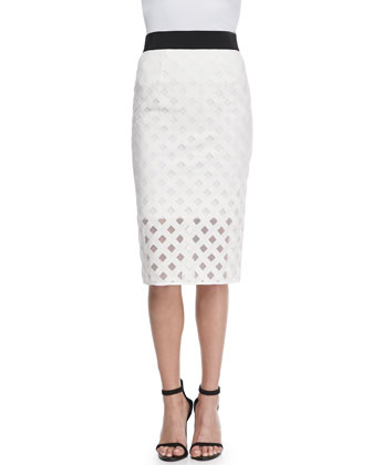 Lattice Mesh Midi Skirt