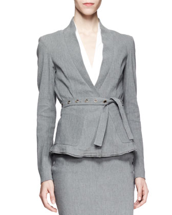 Belted Linen-Blend Suiting Jacket, Gray